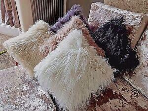 large cushion cover or cushions long shaggy faux fur cushions 21x21