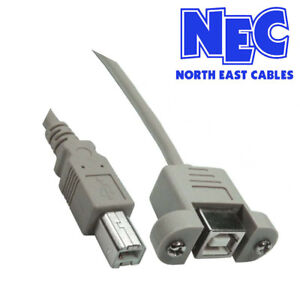 2m Long USB 2.0 Type B Male to Type B Female Panel Mount Cable NEC CabledUp UK