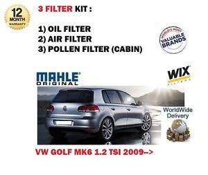FOR VW GOLF 1.2 TSi MK6 2009-> SERVICE KIT OIL AIR POLLEN CABIN FILTER (3) SET