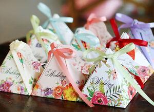 50X-pyramide-style-fete-de-mariage-faveur-sweet-box-Spring-Flower-Wedding-Favor-Box