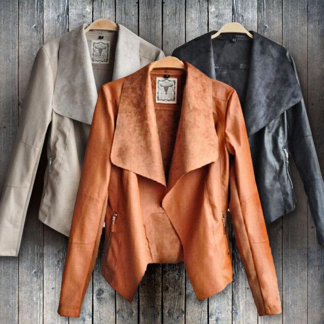 Womens Stylish Jacket Blazer Slim Fit PU Leather Punk Suit Casual Coat Outwear