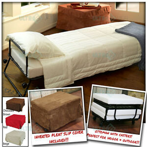 Ottoman Folding Bed Convertible Sofa With Inverted Pleat Slip Cover