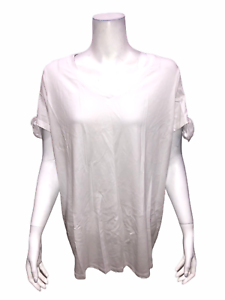 Isaac-Mizrahi-Women-039-s-Knit-V-Neck-Top-with-Tie-Sleeves-Detail-White-Medium-Size