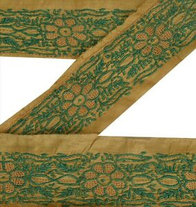 Vintage-Sari-Border-Antique-Embroidered-1-YD-Indian-Trim-Sewing-Green-Decor-Lace