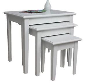 Dettagli su 3x Tavolo Tavolino Antico Bianco Casa di Campagna Shabby Chic  Comodino Set