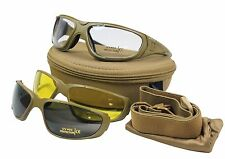 Multi-Lens COMBAT GOGGLES TACTICAL UV 400 Military Safety Glasses - Coyote Tan
