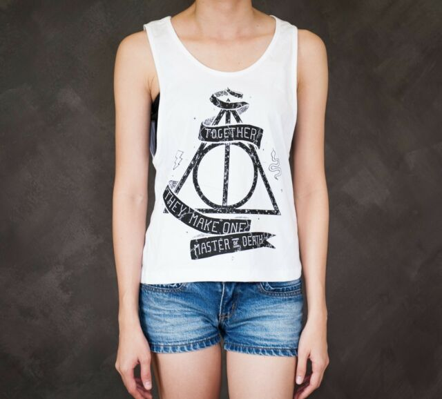Harry Potter Deathly Hallows Symbol Master Sexy Sideboob Crop Tank Top Low Cut