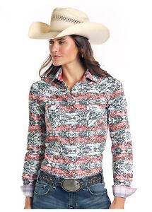 Panhandle-Slim-Women-039-s-Capitola-Vintage-Aztec-Print-Snap-Western-Shirt-R4S1540