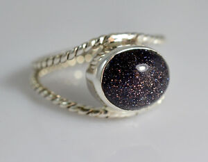Black-Gold-Stone-Silver-Ring-925-Solid-Silver-Handmade-Jewelry-Size-F-Z-1-2-UK