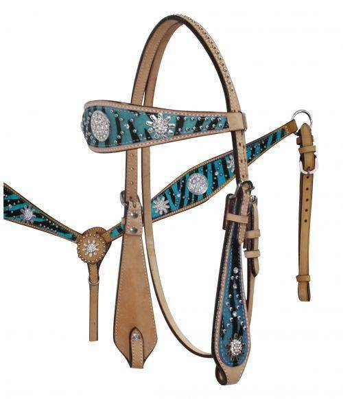 TEAL Zebra Print Headstall Breast Collar Set with Sparkling Rhinestone Conchos
