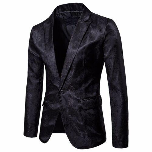 Charm Men/'s Casual Floral Print One Button Slim Fit Suit Blazer Coat Jacket Tops