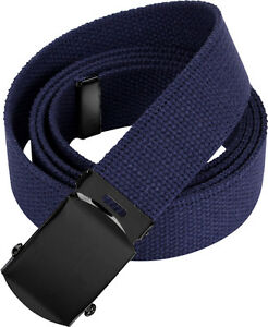 Image is loading Navy-Blue-Military-Cotton-Web-Belt-with-Black- 27b3e7a578c