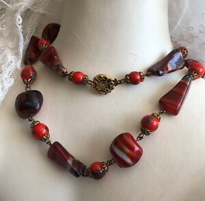 Agate-And-Glass-Necklace-1930s-Red-Beaded-Vintage-Retro-Jewelry-Jewellery-Old