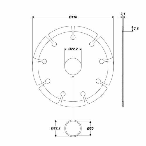 5x Diamanttrennscheibe Turbo Ø 110 mm Stahlbeton Beton Ziegel Stein Trennscheibe