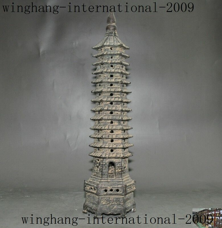 Collect Old Chinese Buddhism Tempel Wenchang Tower Stupa Pagoda Bronze