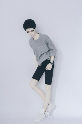 NEW Boy 1//3 Bjd Clothes Gray Stripe The Horn Sleeve Tops  Bjd Accessories