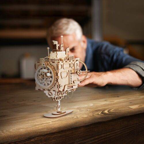 Robotime 3D DIY Model Build Set Laser Cut Wooden Music Box Puzzle Gift LED Light