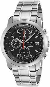 Seiko-Men-039-s-SNDB03-Stainless-Steel-Chronograph-Black-Dial-Silver-Tone-Watch