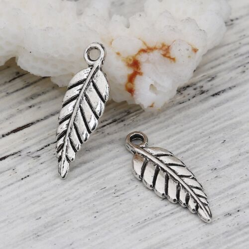 100 Or 200PCs Leaf Charms 19mm Antiqued Silver Plated Fall Pendants C8983-50