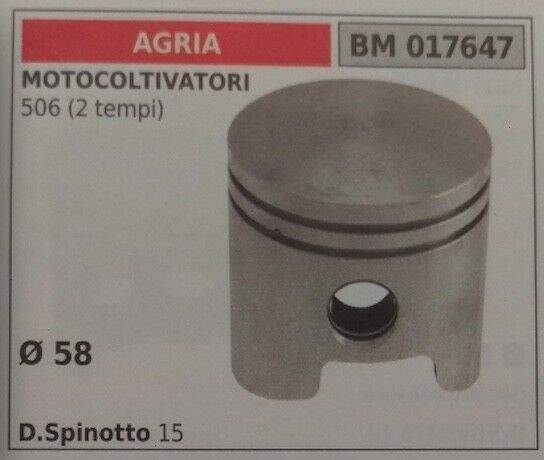 PISTÓN COMPLETO CULTIVADOR AGRIA 506 2T D. 58mm PERNO 15