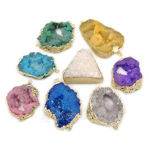 19b74d9ba26a7 Details about Natural Druzy Quartz Agate Geode Sliced Bracelet Necklace  Connector Charm Beads
