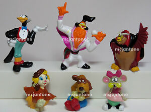 LOOSE-SET-6-Dairy-Queen-1992-DQ-ROCK-A-DOODLE-Chanticleer-Rooster-COMPLETE-Toys