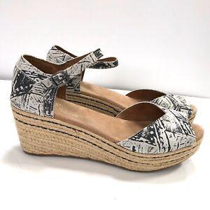 NEW Toms Women's 7.5 Platform Wedge Sandals Grey Suede Scratch Espadrille White