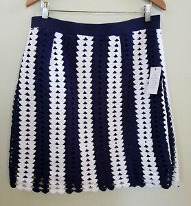 Eloquii-Knit-Crochet-Pencil-Skirt-Blue-White-Women-039-s-Size-14-NEW
