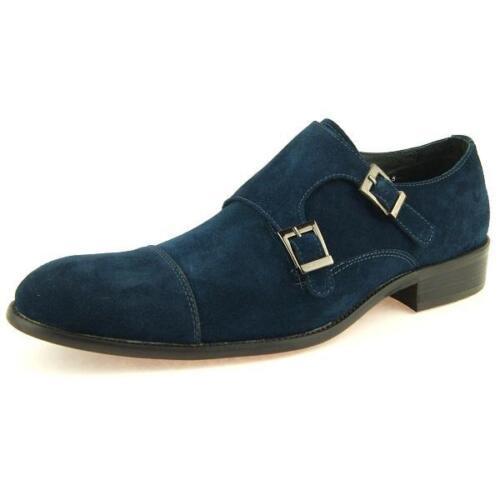 Men/'s Dress Suede Shoes Carrucci Cap Toe Double Monk Strap Navy//Blk//Brn 8-13US