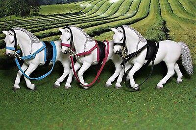 Luxus Longiergurt Trense Ausbinder Set Zubehör  passend für Schleich Pferde