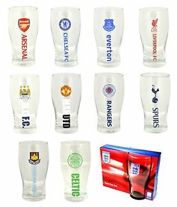 OFFICIAL-FOOTBALL-CLUB-Crested-PINT-GLASS-12-Clubs-Beer-Christmas-Gift
