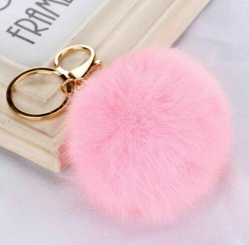 Cute Plush Golden Key Ring Rabbit Fur Ball Pendant Bag Key Chain Car Ornament