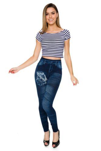 Womens Skinny High Waist Leggings Denim Imitation Pants Solid Soft Jeggings FSDS
