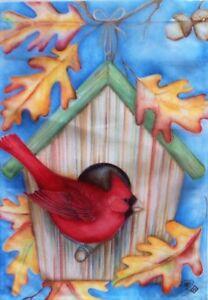 Fall Birdhouse Cardinal Garden Flag by Toland #1520, Last one