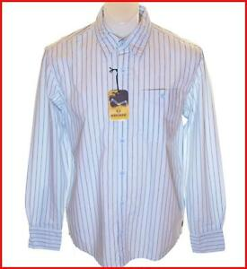 Bnwt Authentic Mens Wrangler Vintage Maverick Long Sleeve Striped Shirt Blue