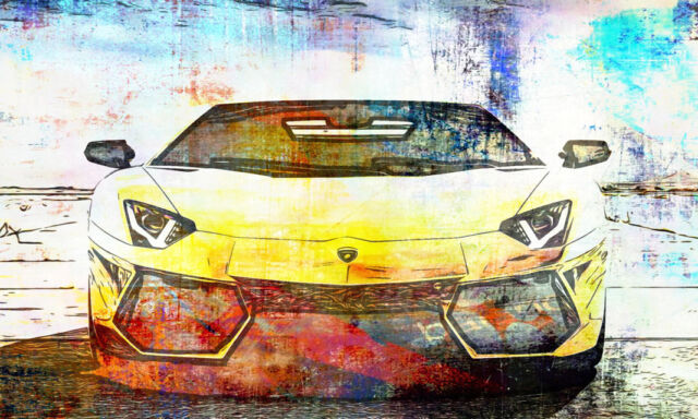 Canvas XXL Pop Art Ferrari Graffiti Abstract Car Poster 50x30-150x90