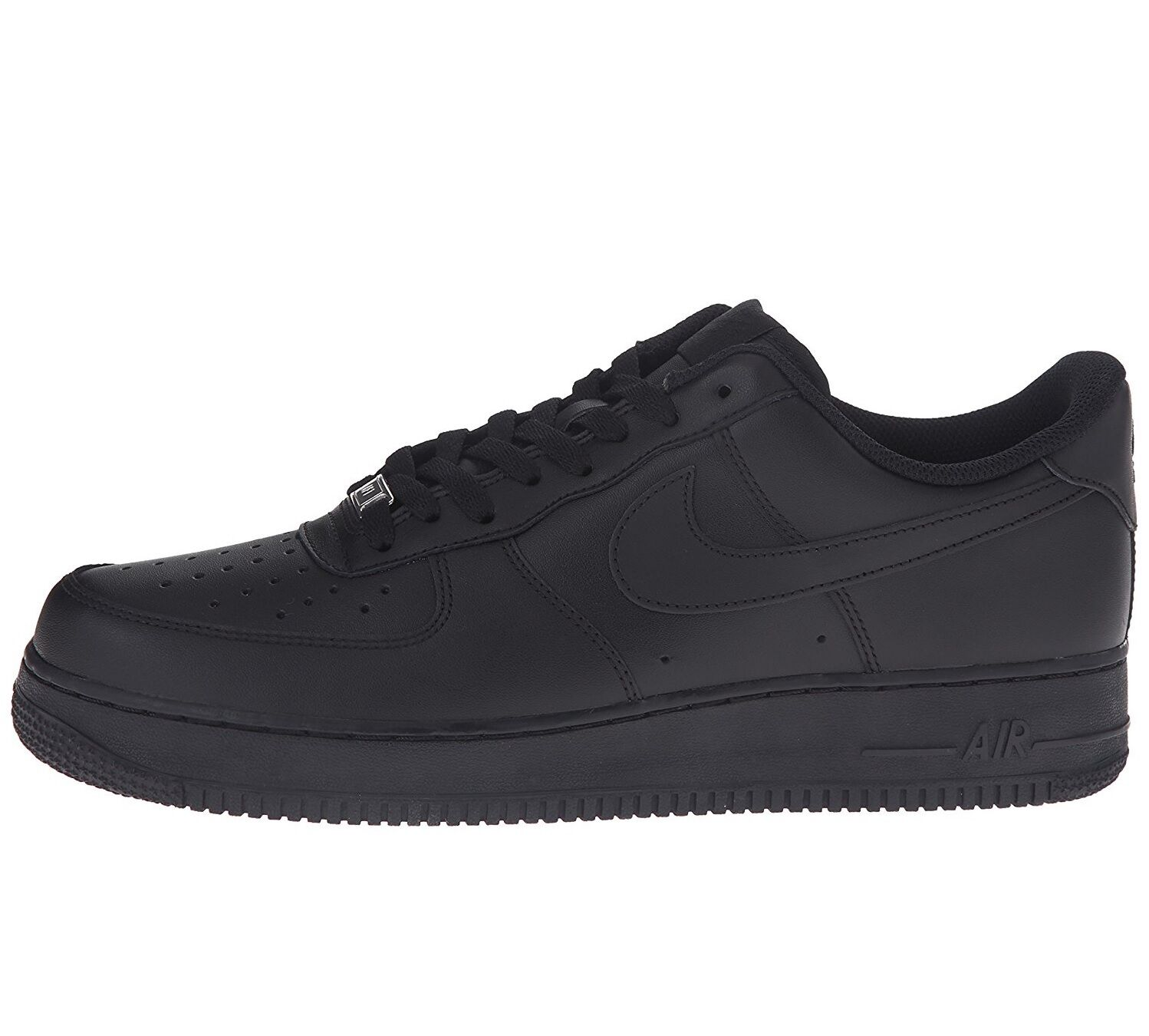 Nike Air Force 1 '07 Mens 315122-001 Black Leather Low Shoes Sneakers Size 8