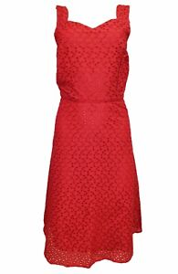 New-M-amp-Co-Red-Broderie-Anglaise-Summer-Party-Tea-Wedding-Races-Dress-Size-10-20