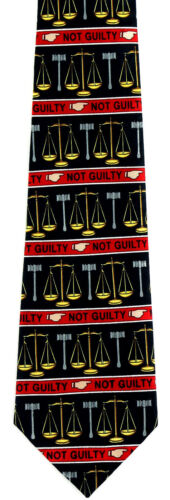 Not Guilty Men/'s Necktie Legal Lawyer Justice Attorney Law Job Black Neck Tie