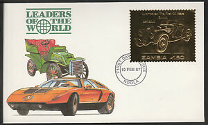 Zambia (389) 1987 Classic Cars - BMW in 22k gold foil on First day Cover