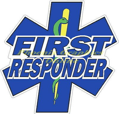 First Responder Star of Life Reflective Decal Sticker Firefighter EMS EMT Rescue