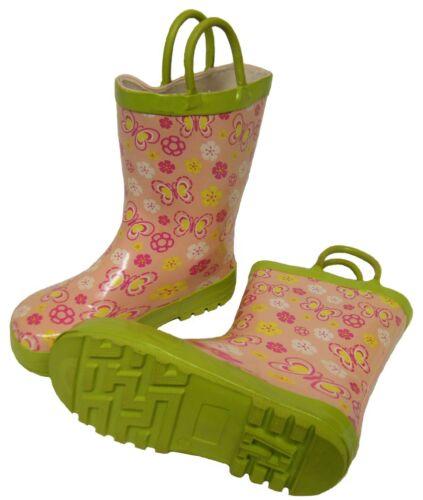Bébés filles Rose Multicolore Papillon Wellington Wellies bottes taille 8//25