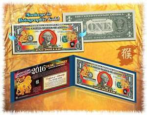 Lot-of-25-Chinese-New-YEAR-MONKEY-2016-Lucky-Money-Gold-Hologram-1-BILL-w-Folio