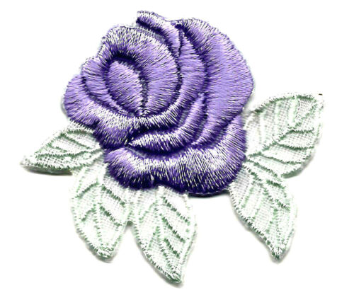Lavender Rose Flowers Garden Roses Iron On Embroidered Patch