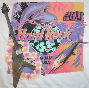 Hard-Rock-Cafe-GUAM-USA-1998-Grand-Opening-GO-White-Tee-T-SHIRT-XL-23-034-x-18-034