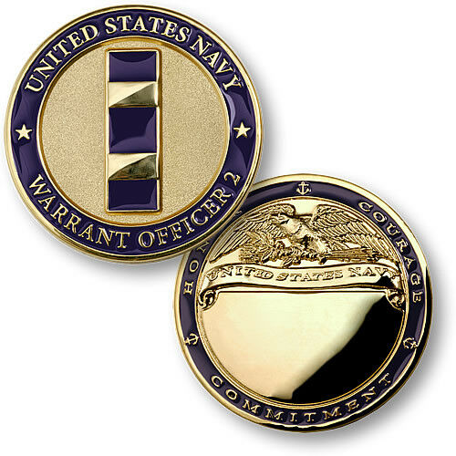 U.S. Navy / Warrant Officer 2 - USN Brass Challenge Coin