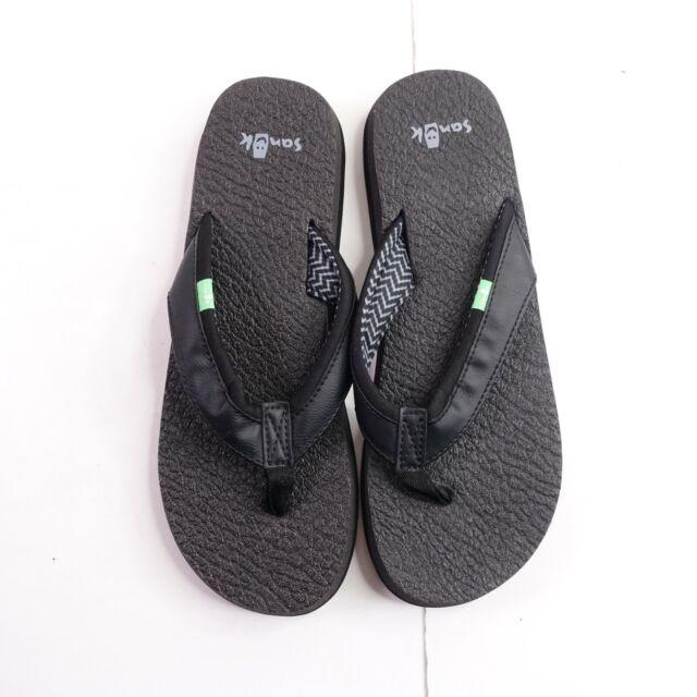 Sanuk Yoga Mat Flip Flops Thong Sandals Womens Size 6 Black Sws2908c For Sale Online Ebay