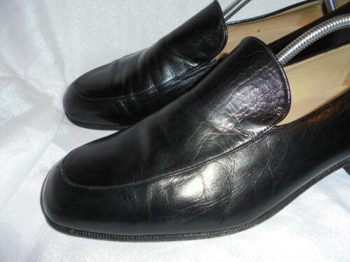 Slip Men's Vgc Uk scarpe On 42 nero 9 Eu Us Size 8 Leather Yanko 6ptOwO