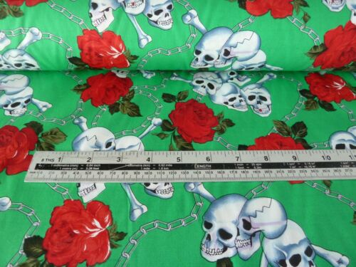 EMERALD GREEN CHAINED SKULLS AND ROSES COTTON BY THE METRE