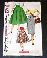 Vintage 1950s Pattern Simplicity 4812 Teen Skirts Waist 24 Hip 31 Uncut